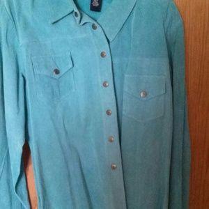 Turquoise suede shirt jacket